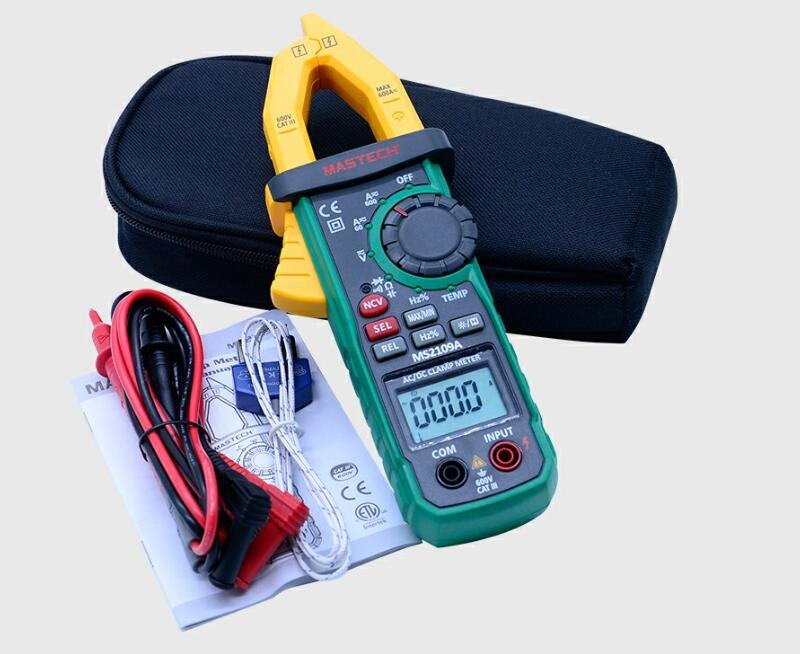 Mastech MS2109A Auto Range Digital AC/DC Clamp Meter Multimeter with NCV Detector MS2109A 600A Capacitance Tester mastech auto range digital ac dc clamp meter 600a multimeter volt amp ohm hz temp capacitance tester ncv test ms2109a