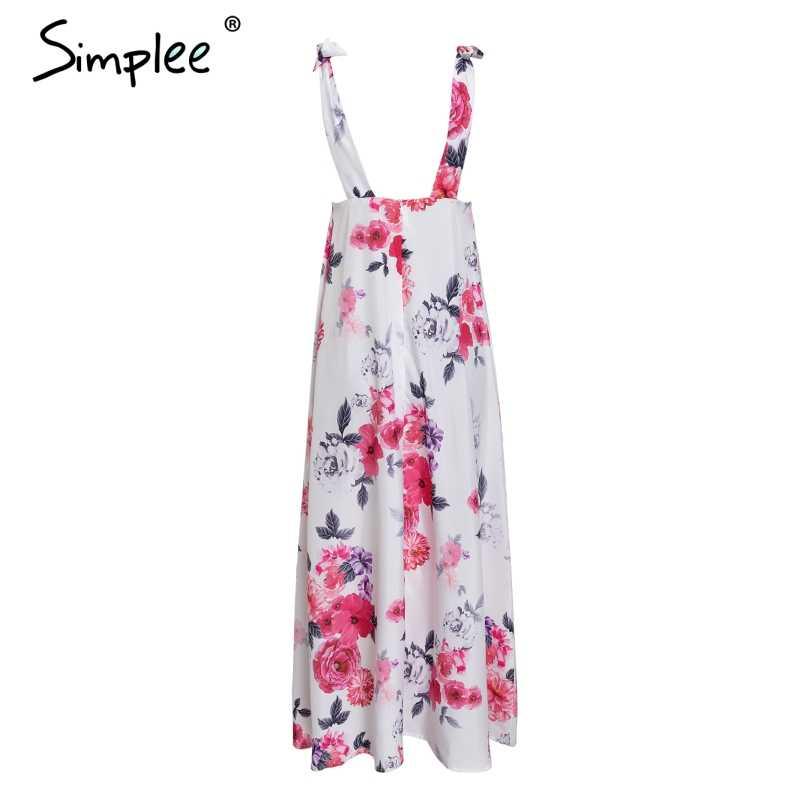 Simplee сексуальное длинное платье с открытой спиной и цветочным принтом для женщин, v-образный вырез, Бандажное летнее платье с бантом, вечерние платья для клуба размера плюс, белые платья
