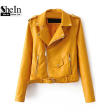 SheIn Womens Casual Coat 2016 New Arrival Autumn Lapel Long Sleeve Faux Leather Belted Moto Basic Jacket With Zipper Outwear