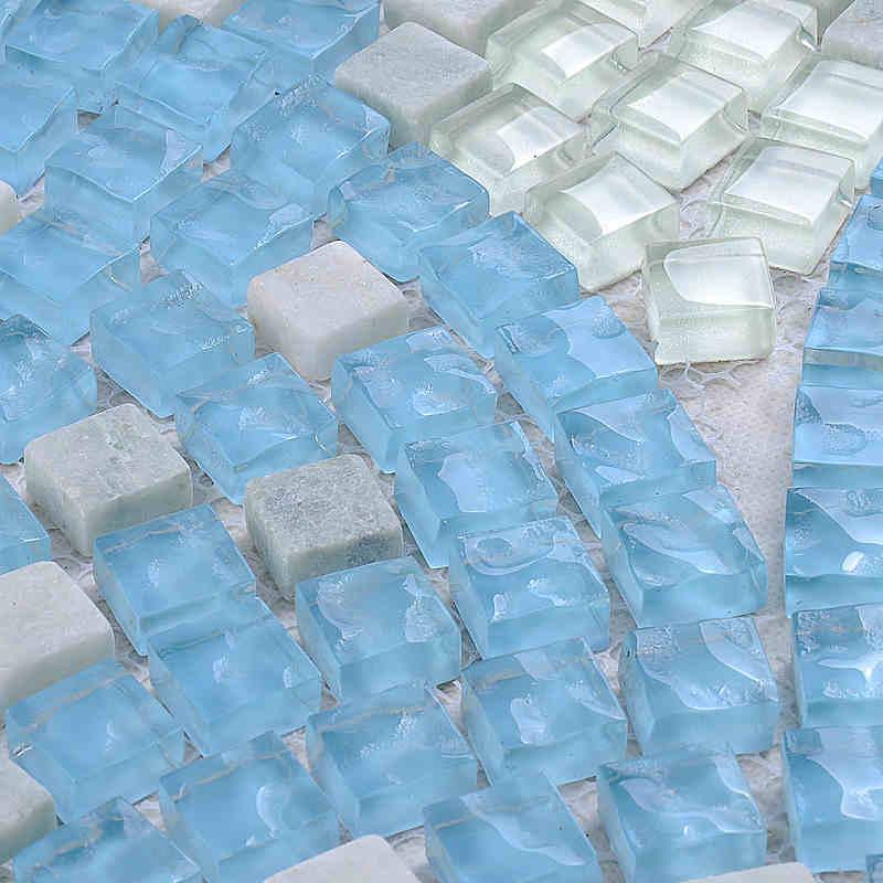 blue fan shaped mosaic crystal glass mixed stone mosaic HMGM2035 for kitchen backsplash bathroom shower hallway dining room wall