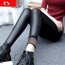 Winter thick Warm Pants Women PU Leather Stretch Slim Pencil Pants Capris Velvet Elasitc black Trousers Plus Size XL XXL