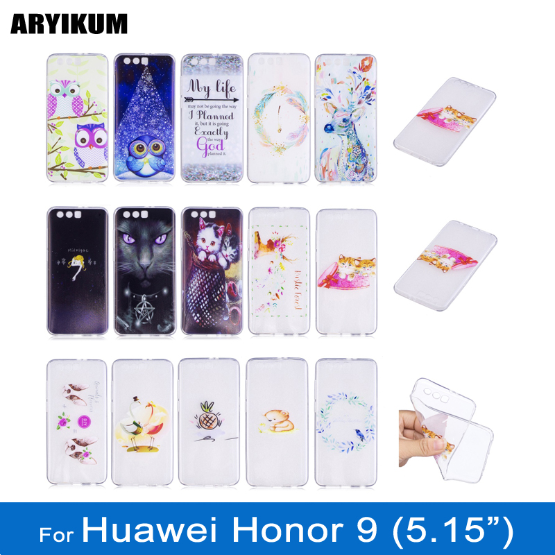 ARYIKUM Mobile Case For Huawei Honor 9 Honor9 4gb 6gb 64gb 128gb dual sim Silicon TPU Case Ultrathin Transparent Cover Coque