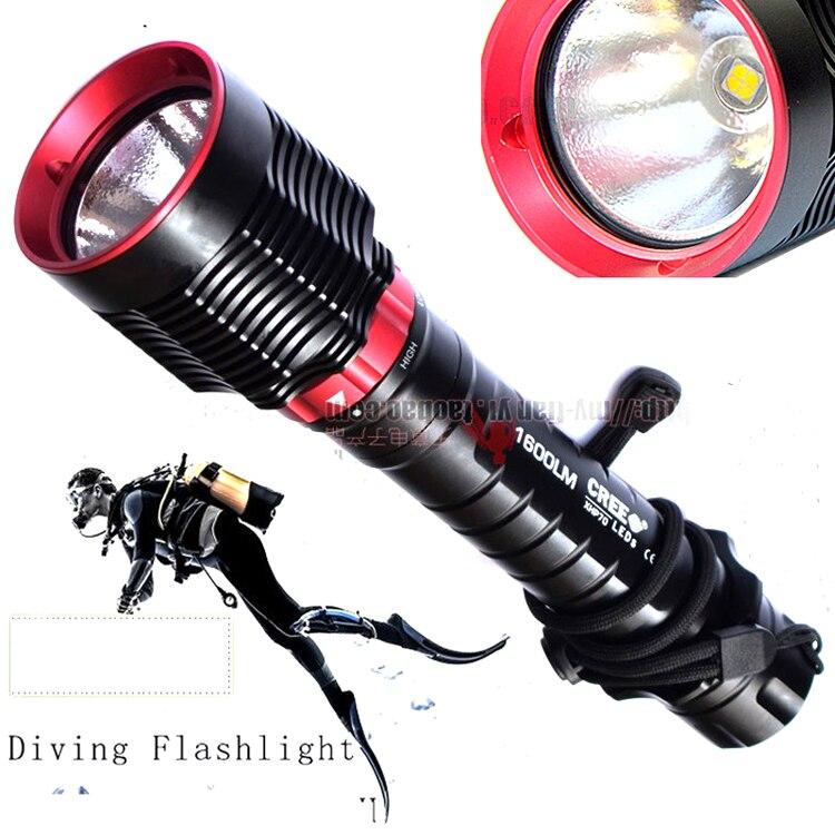 Lumière de plongée CREE XH-P70 LED 7200LM LED lampe de poche étanche lampe de plongée sous-marine Submersible 100 M torche de travail pour 32650