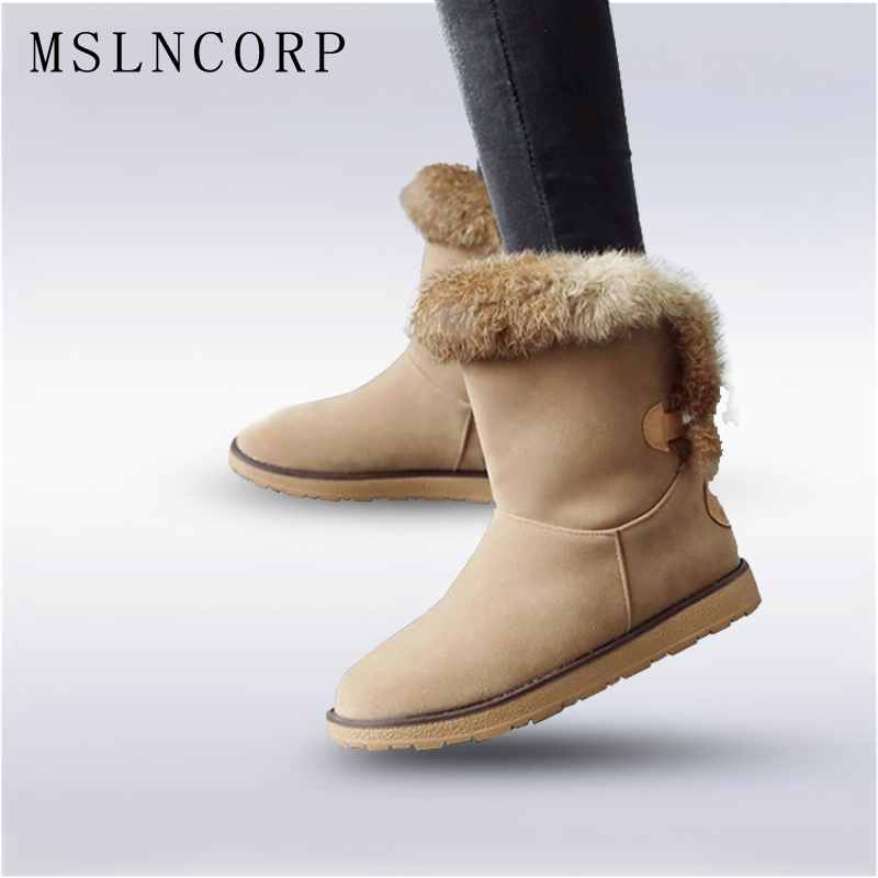 Plus Size 34 43 New Fashion Women Winter Boots Natural Rabbit Fur Plush Warm Snow Boots