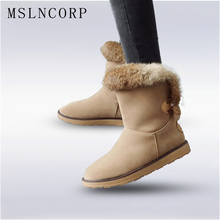 Plus Size 34-43 New Fashion Women Winter Boots Natural Rabbit Fur Plush Warm Snow Boots High Quality Ankle Boots Female Shoes