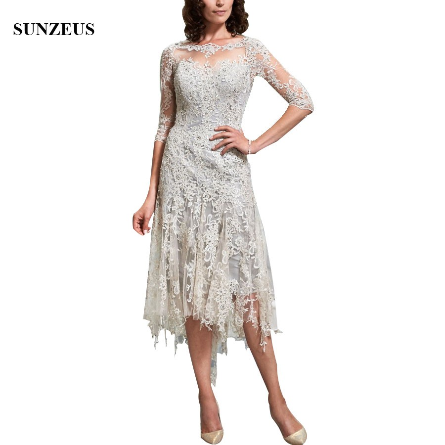 Vintage Appliques Lace Mother Of The Bride Dresses Three Quarter Sleeve Tea Length Women Party Dress