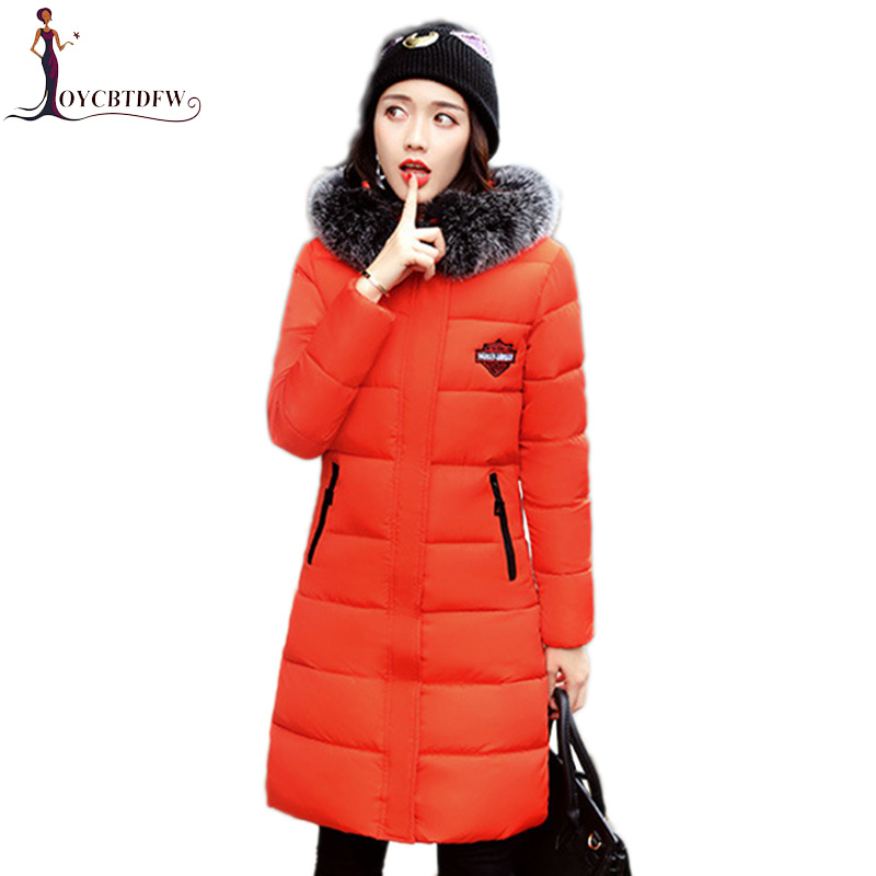 2018 Winter Outerwear Women Red Hooded Fur collar Cotton Jacket Coat Fashion Female   Parkas   Loose Lady Thick warm Coats top XY317