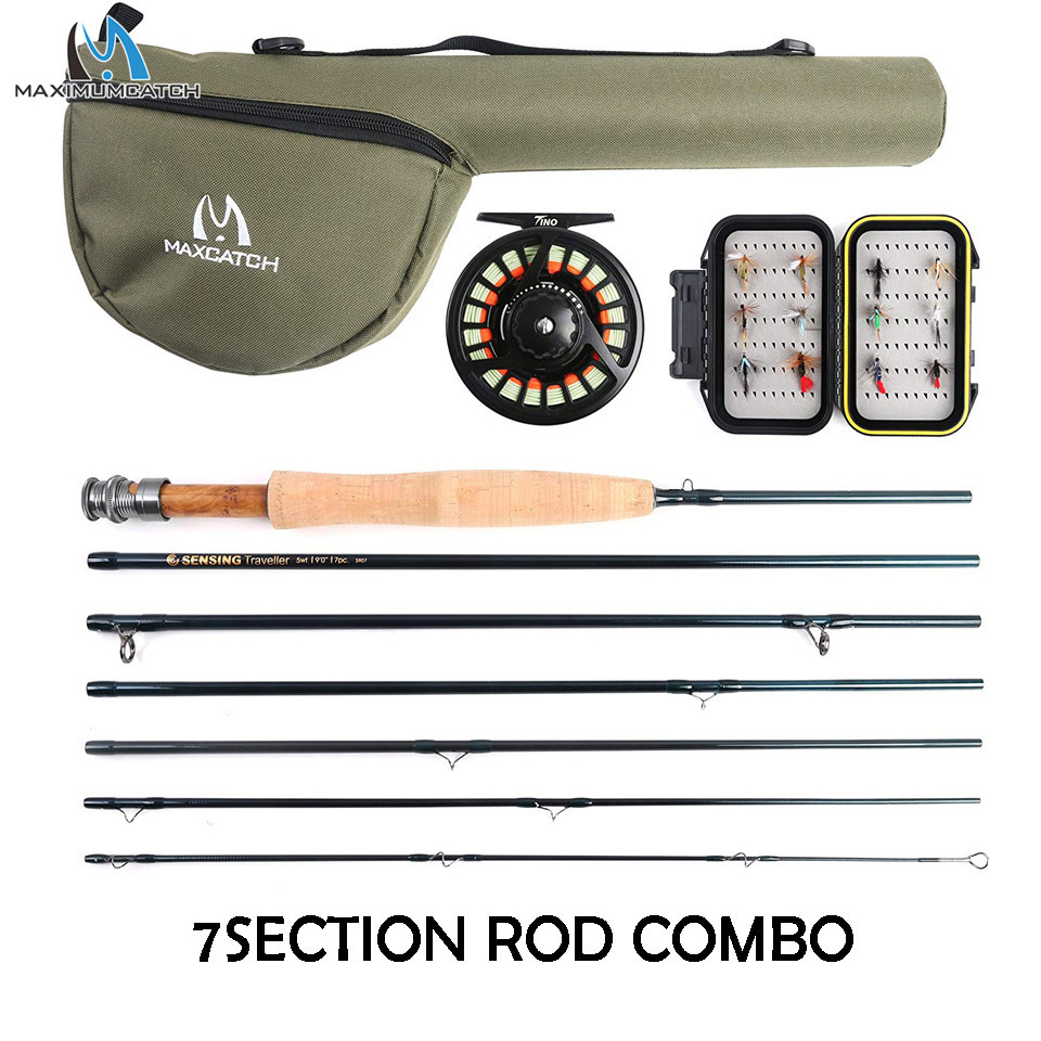 Maximumcatch 7-8Sec Travel Fly Fishing Rod Combo 6/7/8WT 9ft Graphite IM10/30T+36T Carbon Fiber Fly Rod With Fly Reel Kit