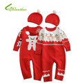 Children Cotton Jumpsuit Christmas Cartoon Snowman and Elk Rompers Long Sleeve With Cap Two Piece Suit Unisex Autumn and Winter