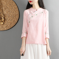 2019 summer chinese traditional costume cheongsam top linen shirt women elegant cotton and linen mandarin collar blouses