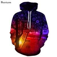 Space Galaxy Hoodies Men Women Hooded Hoodies With Cap 3d Sweatshirt Print Trees Hoody Tracksuits Tops