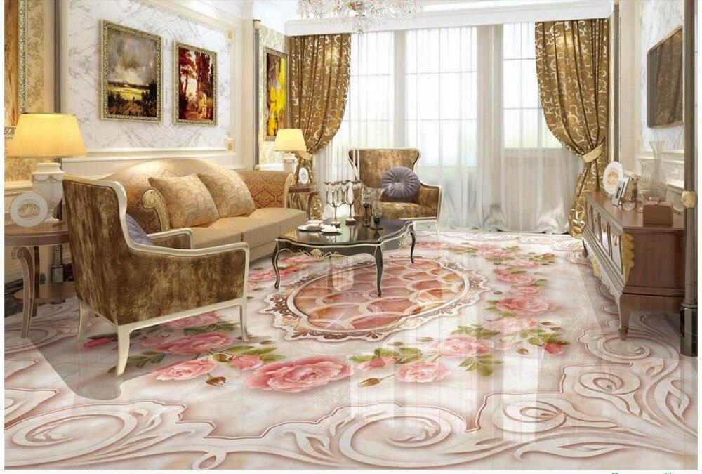 ФОТО 3d floor wallpapers  Marbles Rose Custom Photo self-adhesive 3D floor  PVC waterproof floor  Home Decoration