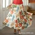 Grande saia saia longa de algodão senhora saia prinntin moda roupas