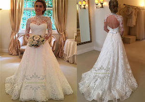Long Sleeves Lace Wedding Dress Illusion Keyhole Bride Gown A Line Beach Wedding Open Back Zipper Closed