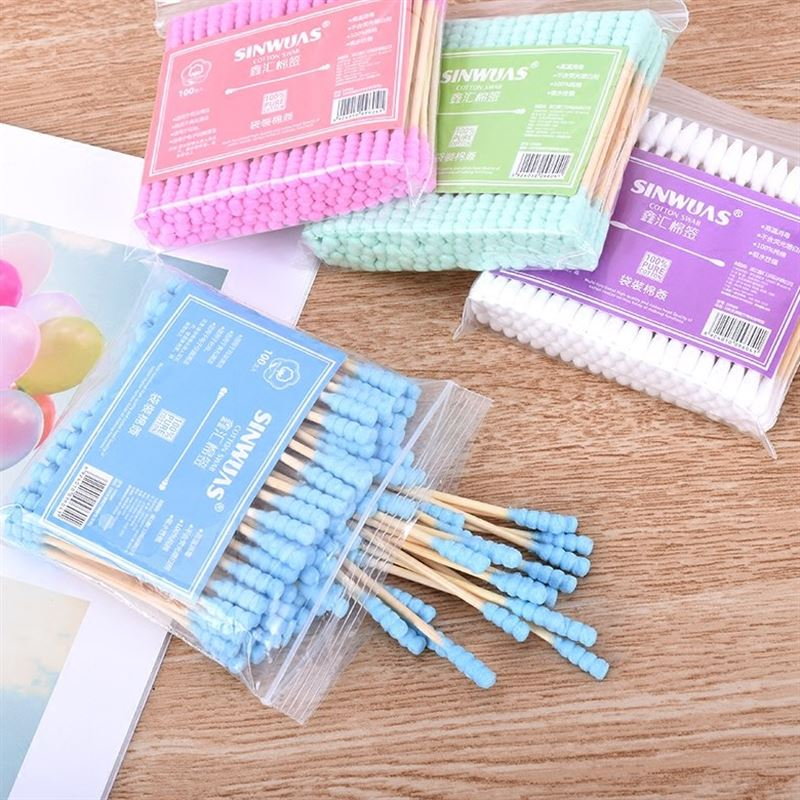 Fashion 100pcs/set Double Head Disposable Makeup Cotton Swab For Medical Wood Sticks Ears Cleaning Health Care Tools