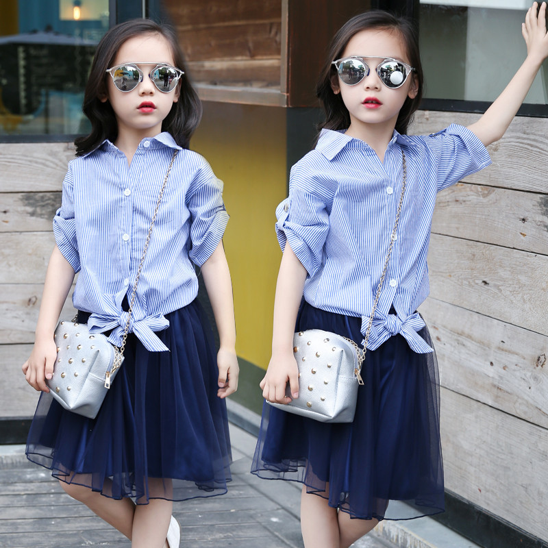 Child's Summer Girls New Striped Shirt-Skirt Gauze Two Pieces Suit Kids Clothing Sets Blue