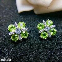 KJJEAXCMY fine jewelry 925 Pure silver inlay natural olive stone female eardrop earrings inlay jewelry silver