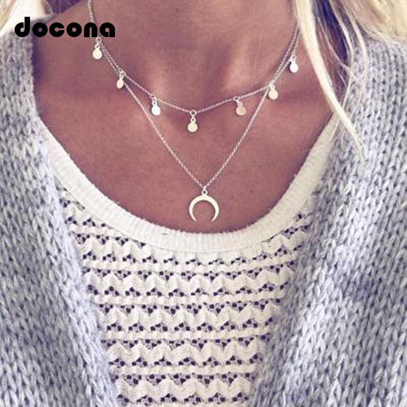 Docona Fashion Boho Sequins Horn Necklaces & Pendants Silver Chain Women Layered Geometric Necklace Choker Collier Femme 6376