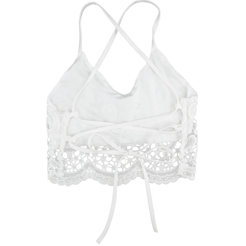 d48742c86ee44b 2018 TOP Fashion Women Crop Halter Crochet Tops Deep V Neck Bralette Vintage  Lace Camisole Bandage Backless-in Camis from Women s Clothing on  Aliexpress.com ...