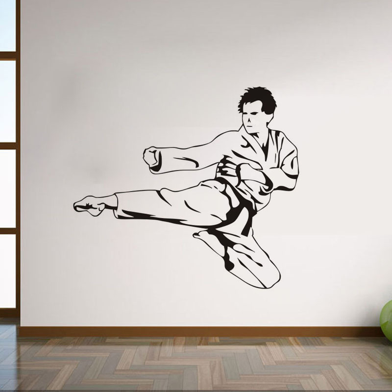 Arts martiaux Karaté mur Art Vinyle Autocollants Garçons Filles Chambre Décalcomanie Décoration