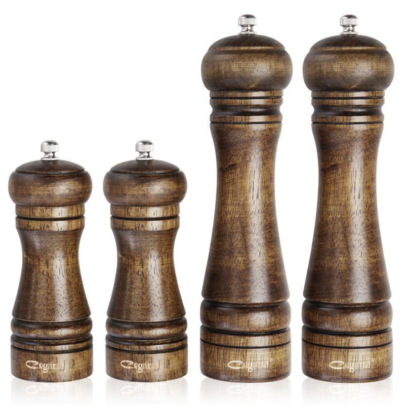 1PC Dropshipping Wood Pepper Spice Mill Grinder Classical Oak Set Handheld Seasoning Mills Grinder Cooking Bbq 5306 classical wooden manual pepper spice mill grinder muller wood