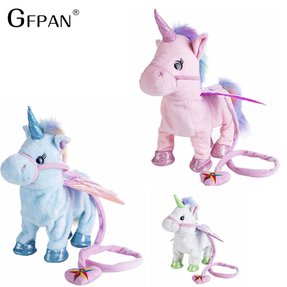 Funny Toys 1pc Electric Walking Unicorn Plush Toy Stuffed Animal Toy Electronic Music Unicorn Toy for Children Christmas Gifts robot unicorn sound control interactive unicorn electronic toys plush pet unicorn toy walk talk toys for children birthday gifts