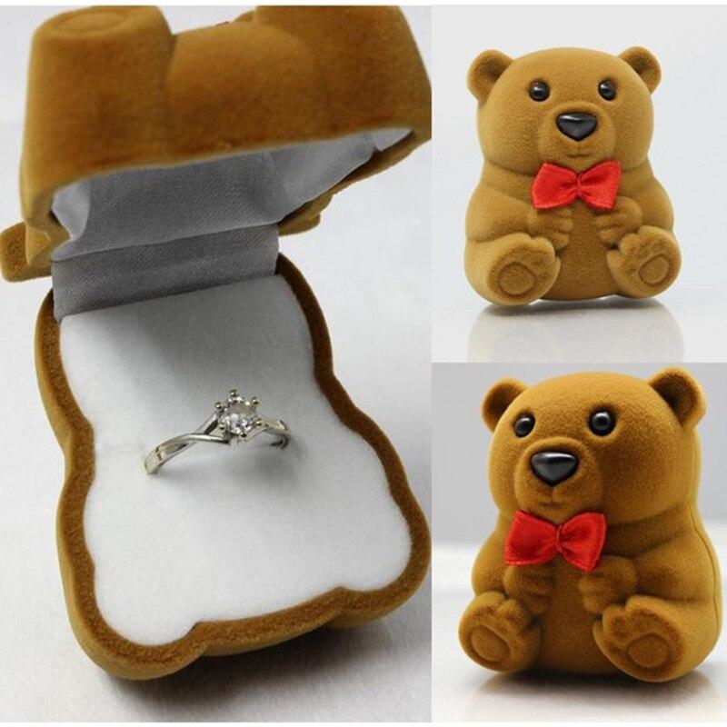 ჱKUNIU Heißer Verkauf schöne Bären Hochzeit Halskette Schmuck Ring ...
