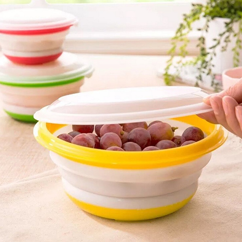 3Pcs Circular Collapsible Covered Silicone Camping Bowl Lunch Boxes Food Container Storage Bowls With Lids