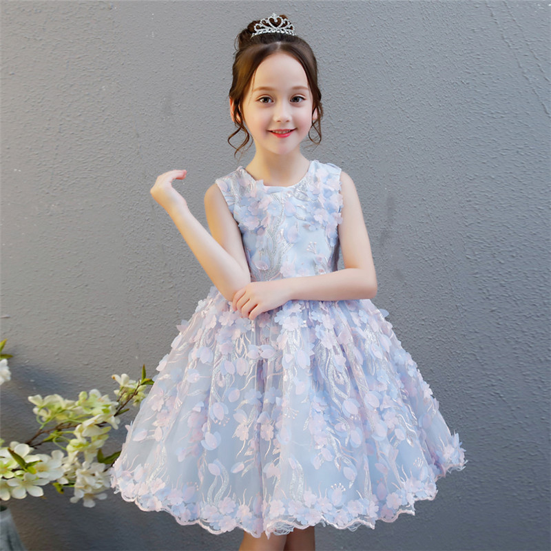 Children Girls Elegant Appliques Flowers Vintage Wedding Birthday Tulle Dress Junior Evening Party Dress Handmade Flowers Dress 1 design laser cut white elegant pattern west cowboy style vintage wedding invitations card kit blank paper printing invitation