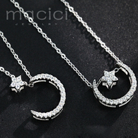 925 Solid Silver Crescent Moon Star Necklaces Pendants Pure Sterling Silver Chain Necklace Jewelry Collar Colar