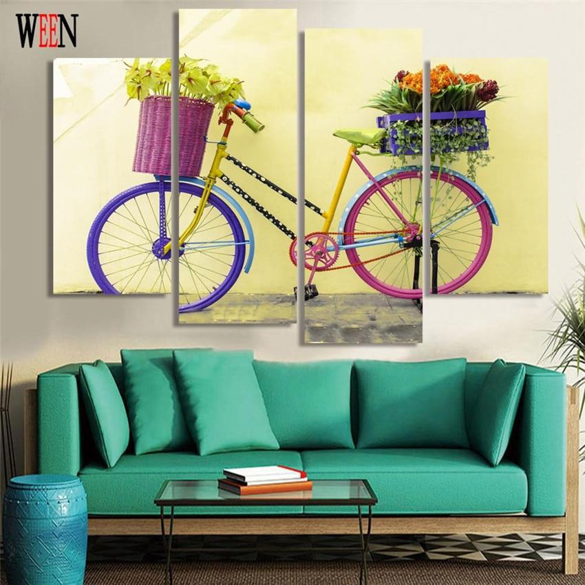 WEEN Bike Canvas Art 4Pcs Modern Flower Basket Wall Pictures ...