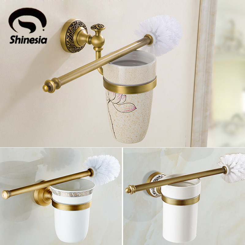 Free shipping Euro Stylish Antique Brass Toilet Brush Holder Flower Painting With Single Ceramic Cup Wall Mount stylish cup
