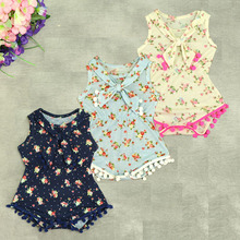 Ruffled baby girls Sunsuit flower Kids bubble Floral