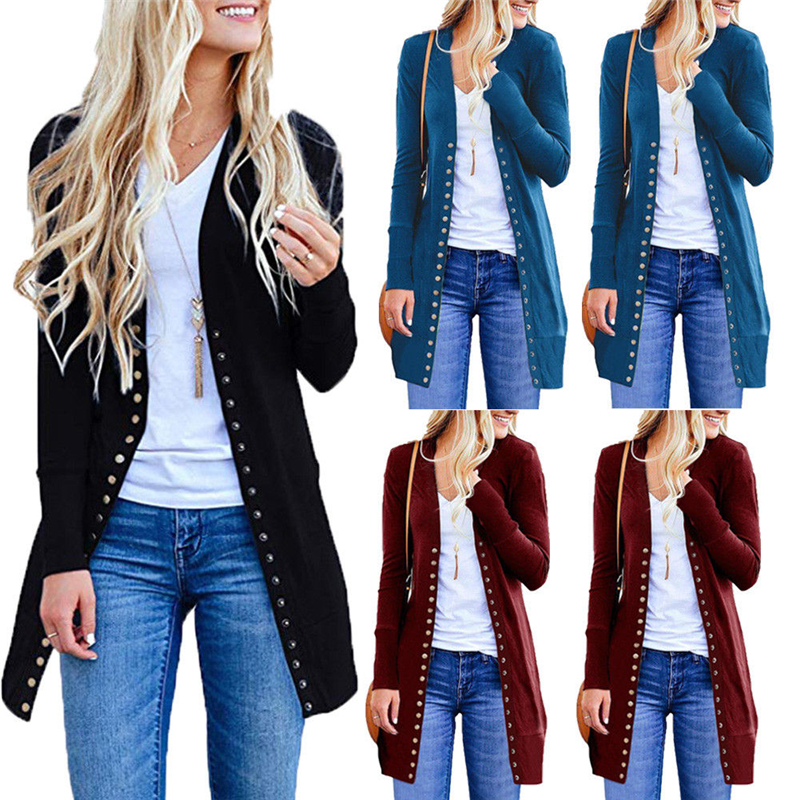 Women Knitted Long Sleeve Sweater Cardigan For Female Women 2019 Autumn New Overcoat Outwear Coats Long Cardigan Plus Size