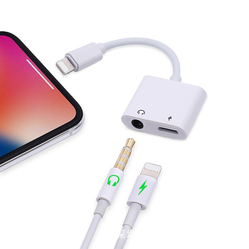 Headphone Adapters For Iphone 7 8 To 3.5mm Earphone Audio Adaptors For iOS 11 12 2 in 1 for Lightning Adapter Charging and Music цена и фото