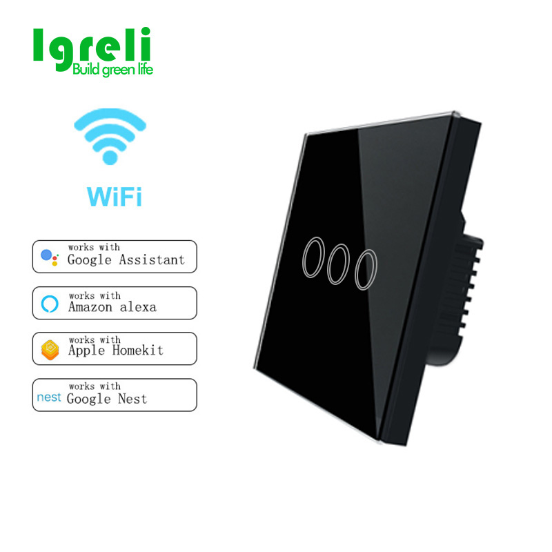 Ig Wifi Smart Wall Touch Light Switch 3 Gang 1 Way Switches APP Control remoto funciona con eWelink y Amazon Alexa y Google Home
