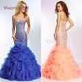 Sexy Azul Royal Longo Sereia Noite Vestidos de Mulheres Do Partido para Vestidos de Casamento Fora Do Ombro Frisada de Cristal Vestidos de Noite Formais