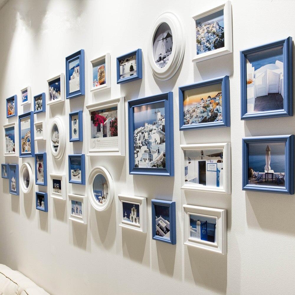 32 pcs/ensemble Noir Bleu Blanc Cadre Photo, Cadre Photo En Bois De Style Méditerranéen Ensemble Collage, wintage Ronde Ovale Cadres Photo Mur