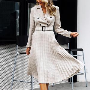 Image 4 - Aartiee Elegant 2019 Autumn winter ladies Blazer dress Button belt long sleeve dress female plaid dresses women Sexy vestidos