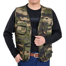 2019 Men vest male hunting Camouflage Jackets plus size Outdoor fishing Multi-Pockets mens casual Outerwear Coats V-Neck vests