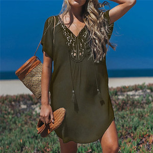 Image 5 - Fanbety  Plus size Tassels Beach Wear dress Women Swimsuit Cover Up Bathing  Summer Mini Dress Loose Solid Pareo Cover up dress