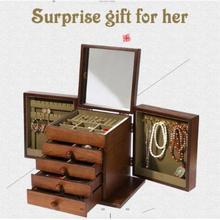 Роскошная коробка для ювелирных изделий, деревянный ящик для хранения, органайзер для драгоценностей, дисплей, упаковка для ювелирных изделий, шкатулка для девочек, подарок на день рождения