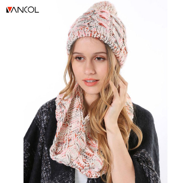 fb434ad8444 vancol 2017 laides pink two piece set Beanie scarf set knitted pom pom hat  crochet hats scarves winter cap and scarf women