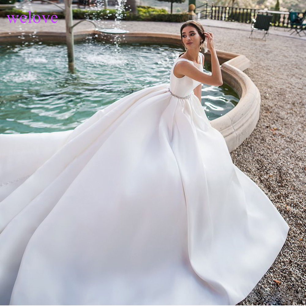 Robe de mariee Luxury Wedding Dress 2019 New arrival Satin With Train Vintage Bride Wedding Gown