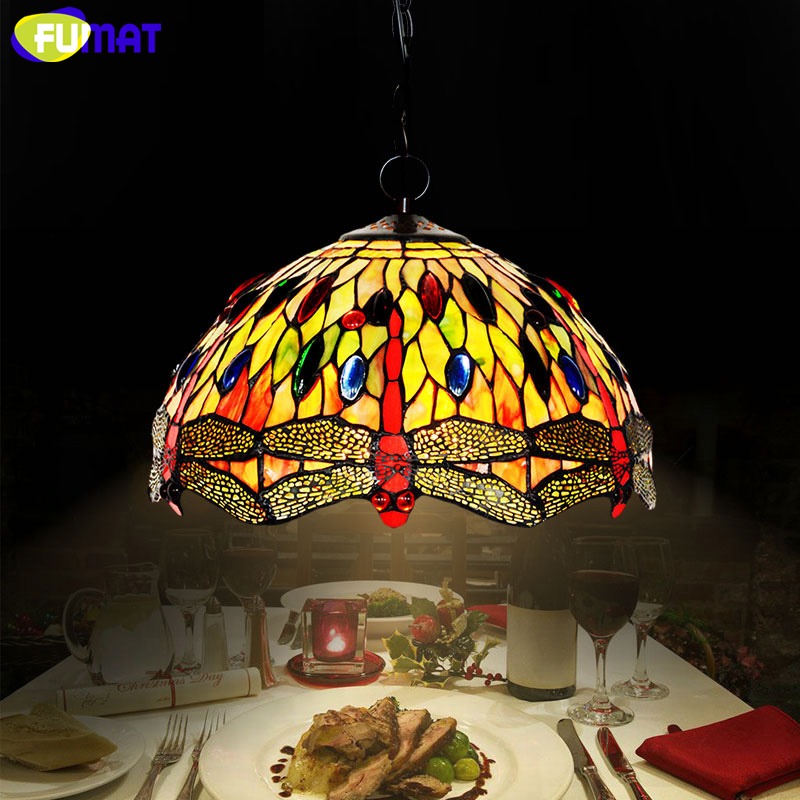 FUMAT Stained Glass Lamp Creative Art Dragonfly Glass Shade Lamp European Style Living Room Hotel Kitchen Light Fixtures fumat stained glass pendant lamps european style baroque lights for living room bedroom creative art shade led pendant lamp