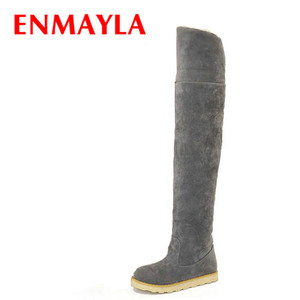 ENMAYLA Fur Female Over The Knee Boots Women Slip-on Round Toe Flock Leather Flats Heel Snow Boots Shoes Woman Winter Long Boots