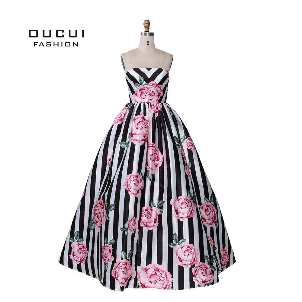 Simple Design Sexy Sweetheart Ball Gown   Prom     Dresses   2019 Floral Print Satin Floor Length Party   Dress   Vestido For Girl OL101020