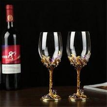 Copa de vidrio esmaltado pintada a mano Vintage copa de cristal copa de vino tinto boda tostado copas de champán decoración regalos de lujo