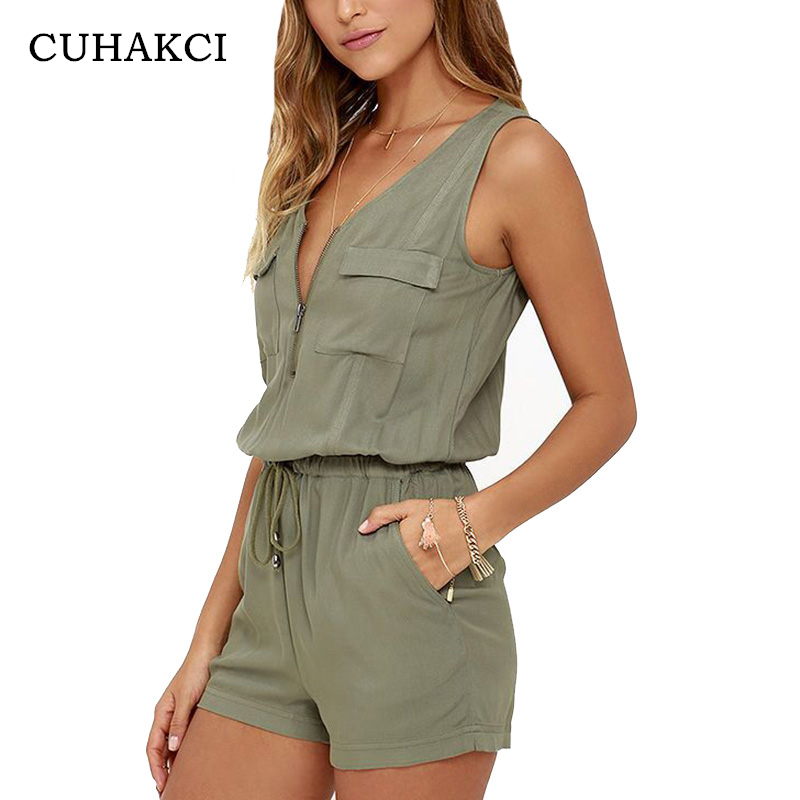 DressU Womens Single-Breasted Pockets Short-Sleeve Camo Playsuit Shorts Rompers