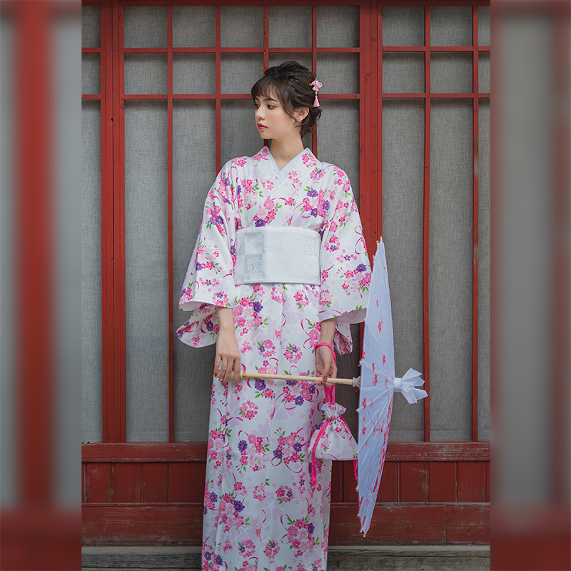 Pink Elegant Women Kimono Yukata Japanese Style Cosplay Costume Print Floral Noble Lady Evening Dress Stage Show Clothing S M